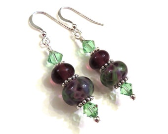 Purple & Green Lampwork Earrings, Purple Lampwork Earrings, Green Lampwork Earrings, Lampwork Jewelry, Purple Earrings, Green Earrings