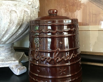 Mar-Crest Cookie Jar MCR2 Daisy & Dot Warm Colorado Brown Mar Crest Vintage Stoneware Marcrest ~ #5874