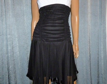 "Vintage - 80's -Color Block - Black and White - Big Satin Bow Tarzan Shoulder - High Low - Ruched - Dress - size large - 32"" - 36"" bust"