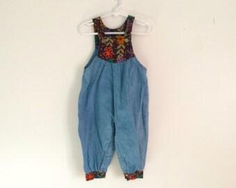 1980s toddler girls denim romper / hippie flower embroidered jumper / summer play suit