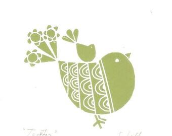 Robin Bird Linocut Print, Art Gift - Together - Green Robin Art Print, Modern  Art, Original Print Signed