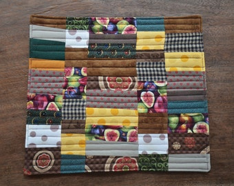 Figs Mini quilt - mug rug - mat - Large Coaster- Candle Mat - Wall Art - browns and greens patchwork