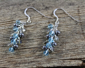 Blue and Grey Dangle Sparkly Earrings / Matching Necklace Available / Blue Earrings / Grey Earrings / Gifts for Her / Gifts for Women