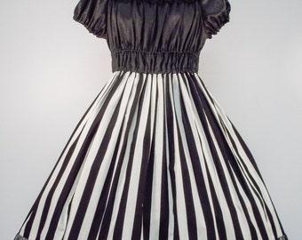 Cream and White Stripe Onepiece Dress