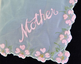 Vintage 'Mother' Sheer Nylon Handkerchief with Pink Floral Flocking