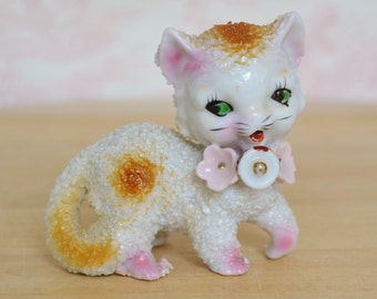 Vintage Cat Figurine with Textured Fur and Flowers Made in Japan