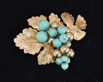 Vintage Berries and Leaves Brooch with Blue Glass and Gold Metal Beads
