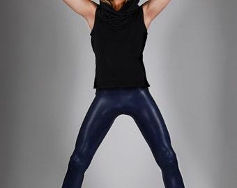 Navy Metallic Leggings Dark Blue Spandex Pants Minimalist