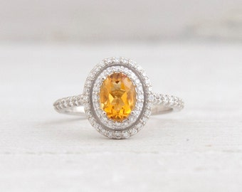 Natural Citrine Oval and Diamond Double Halo Setting Citrine Engagement Ring LCDH006