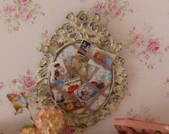 Dollhouse Miniature Shabby Chic Memory Board