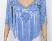 Handmade Shawl Poncho, Blue poncho cape, Bridal shawl crochet shawl wedding wrap bridal accessories wedding shawls