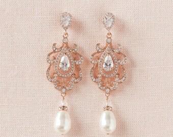 Rose Gold Bridal Earrings, Chandelier Wedding Earrings, Pearl Drop Earrings,  Vintage Style, Long Bridal Earrings, Paisley Bridal Earrings