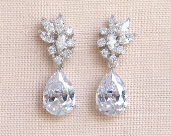 Crystal Bridal earrings Wedding jewelry Crystal Wedding earrings Bridal jewelry, Tegan Bridal Earrings