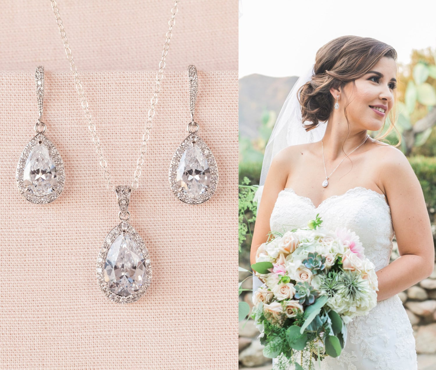 Crystal Bridal Set. Bridesmaids Jewelry Set, Crystal Pendant and Earrings, Wedding Jewellery, Ariel Bridal Jewelry SET