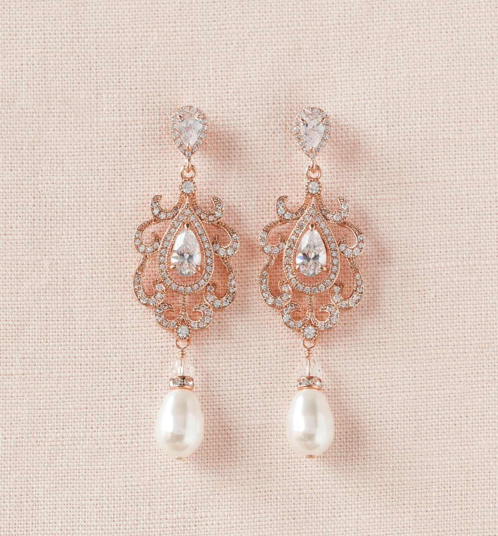 Rose Gold Bridal Earrings Chandelier Wedding Earrings Pearl