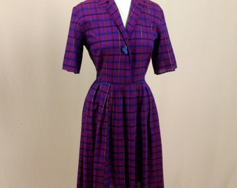 1950s Day Dress * Purple Dress * Cotton Day Dress * Purple Plaid Day Dress * 50s Dress * 50s Party Dress * 1950s Dress