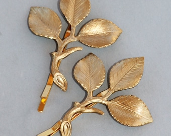 Gold Brass Branch Bobby Pins,Branch Leaf Hair Pins,Set of Two,Woodland,Outdoor,Nature,Bridesmaids,Weddings,Gold Leaf Pins,Gift For Her,Pair