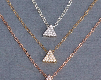 NEW Rose Gold,Gold, Silver Micro Paved Triangle Necklace,Minimalist Tiny CZ Triangle Pendant,Casual,Everyday,Layering Necklace,Mixed Metal