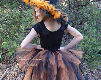 Witch Hi Low Tutu Bustle Tail Style, Orange and Black, for Parties, Pageants, Costume.... Tutu Only, Child, Teen, Adult Witch Bustle Tutu