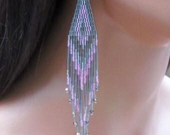 Extra Long Earrings Gray & Pink - Long Beaded - Seed Bead - Bugle Bead - Statement Earrings - Gypsy Boho Style - Fringe Earring
