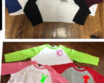 SALE!  Monogrammed Raglan with ONE Initial or a Small Design