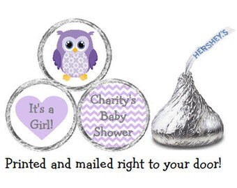 Printed 216 Baby Shower Stickers for Chocolate Kiss® Candy - Purple Owl & Chevron Personalized Labels for Favors