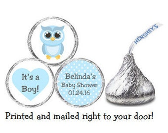 Printed 216 Baby Shower Stickers for Chocolate Kiss® candy - Blue Owl & Polka Dots Personalized Labels for Party Favors