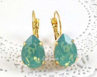 Mint Opal Earrings, Mint Swarovski Crystal Teardrop Pacific Opal Earrings, Green Opal Nickel Free Gold Earrings Christmas Gift