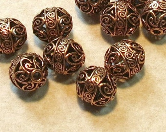 Copper Bali Style Filigree Bead - 11X13mm - Bali Style - Four Pieces
