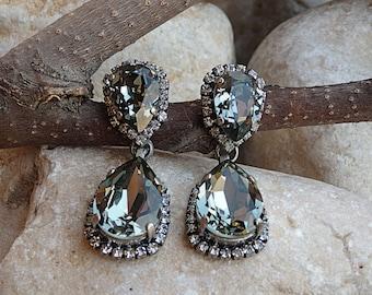 Smokey Grey black diamond Swarovski crystal drop earrings, Teardrop earrings, Oxidized Silver earrings,Bridesmaid Stud drop earrings.