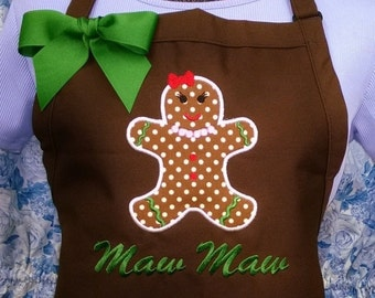 Personalized Gingerbread Girl Apron Christmas Apron Cookie Apron
