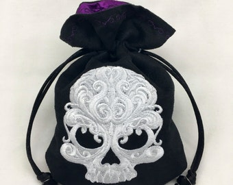 ELEGANT SKULL - Faux Suede Drawstring Pouch with Machine Embroidery for Dice, Runes, Tarot Cards