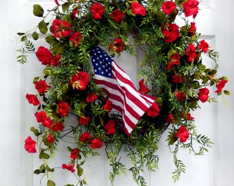 Patriotic Wreath - Forth of July - Summer Wreath - Wreath - Outdoor Wreath - Wreath For The Door - 4TH of July