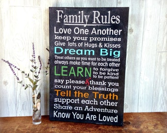 Family Rules Gallery Wrap Canvas Print - Canvas Art Print - Gallery Wrap Canvas Print Family Rules - Canvas Wall Art Family Rules Sign