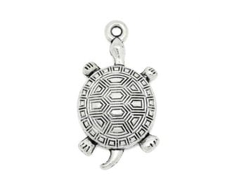 6 Turtle Charms in Silver Tone - C2377