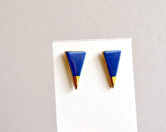 Cobalt blue and gold tip earrings - porcelain jewelry - porcelain stud earrings - Jasmin Blanc jewelry