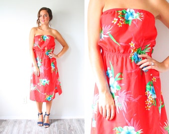 Vintage floral vacation dress // red strapless floral red dress // summer tropical Hawaiian small dress // swim cover up // dead stock