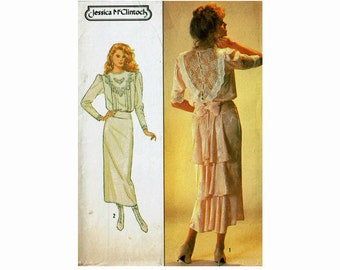 Jessica McClintock dress Size 12 Bust 34 Heirloom Antique style Simplicity 8224 Uncut Sewing Pattern 1980s