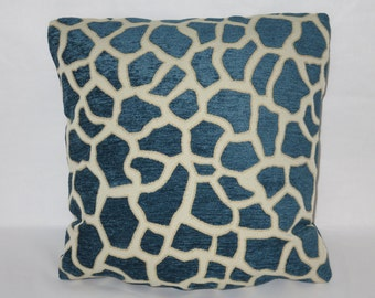 "Blue Giraffe Chenille Pillow, Blue Cream, 17"" Square, Ready to ship, Cover and Insert, Animal Print, Cushion"