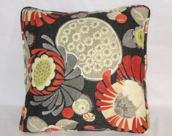"Black Cactus Flower Throw Pillow Orange Grey Yellow Waverly Copacabana 17"" Cotton Square Welted Ready Ship Cover and Insert"