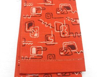 Japanese Obi. Woven Silk Textile. Modern Abstract Red Black White Design (Ref: 1572)