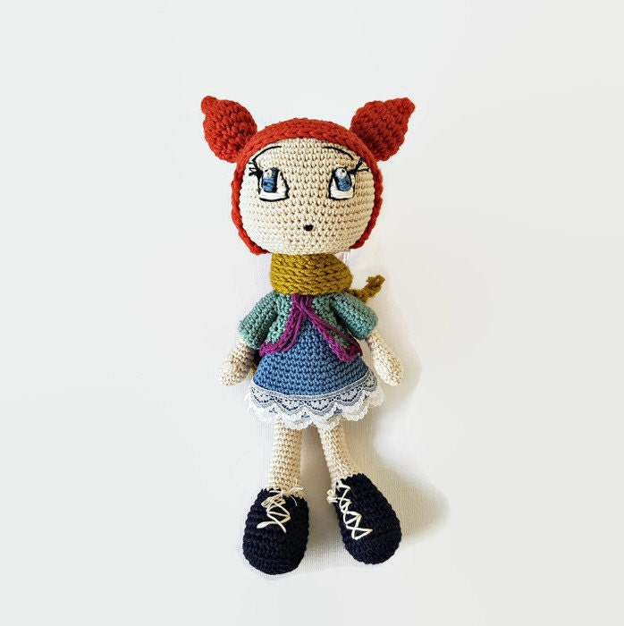 Crochet Amigurumi Accessories : Red-haired knitted Doll 12 inches Amigurumi Doll Soft Doll
