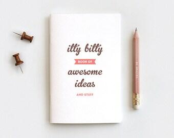 Back to School SALE Midori Travelers Notebook Size - Itty Bitty Book of Awesome Ideas - Fauxdori Journal & Pencil Gift Set Stocking Stuffer