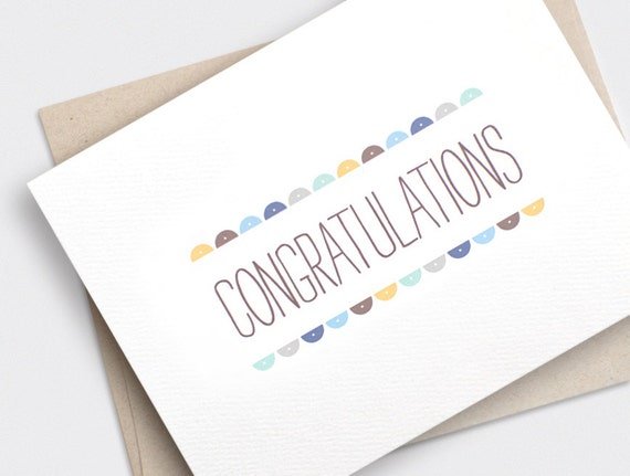 Congratulations Card Recycled Card Semi Circles For