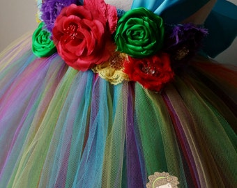 girls rainbow tulle dress, rainbow tutu dress, girls birthday dress, rainbow tulle, rainbow tutu, rainbow dash dress, rainbow brite dress