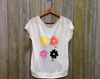 Daisy Crop Top, Flowy Tee, Dancer's Tee, Yoga Tee