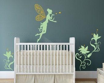 Fairy and Flowers Wall Decal-Baby Girl Nursery Removable Wall Decals Kids Bedroom Stickers Floral Decals pt0281