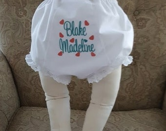 Monogrammed Bloomer Diaper Cover Personalized  Diaper Cover SweetHeart Font and Hearts Baby Shower Gift