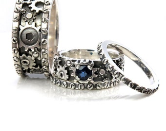 his and hers gears and rivets wedding ring set sterling silver with a sapphire - Steampunk Wedding Rings