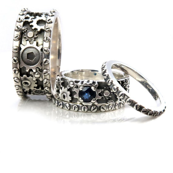 His and Hers Gears and Rivets Wedding Ring Set - Sterling Silver with a Sapphire - Steampunk Gear Ring